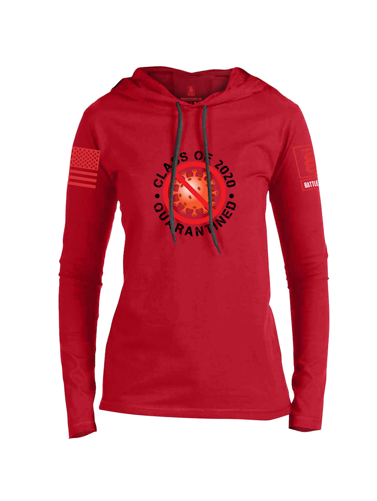 Battleraddle Class Of 2020 Quarantined Red Sleeve Print Womens Thin Cotton Lightweight Hoodie