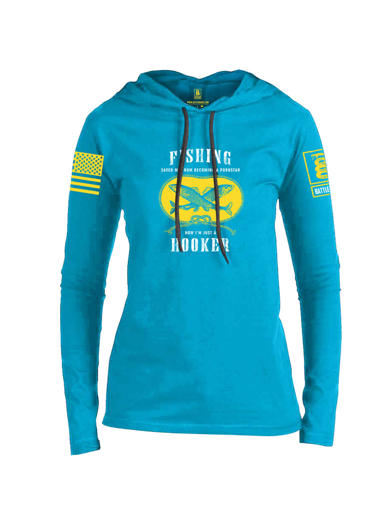 Battleraddle Fishing Saved me from Becoming a Pornstar Yellow Sleeve Print Womens Thin Cotton Lightweight Hoodie