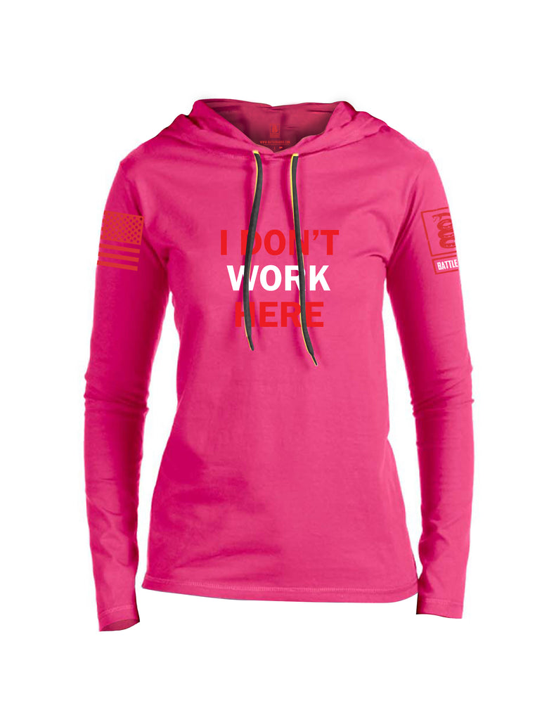 Battleraddle I Dont Work Here Red Sleeve Print Womens Thin Cotton Lightweight Hoodie