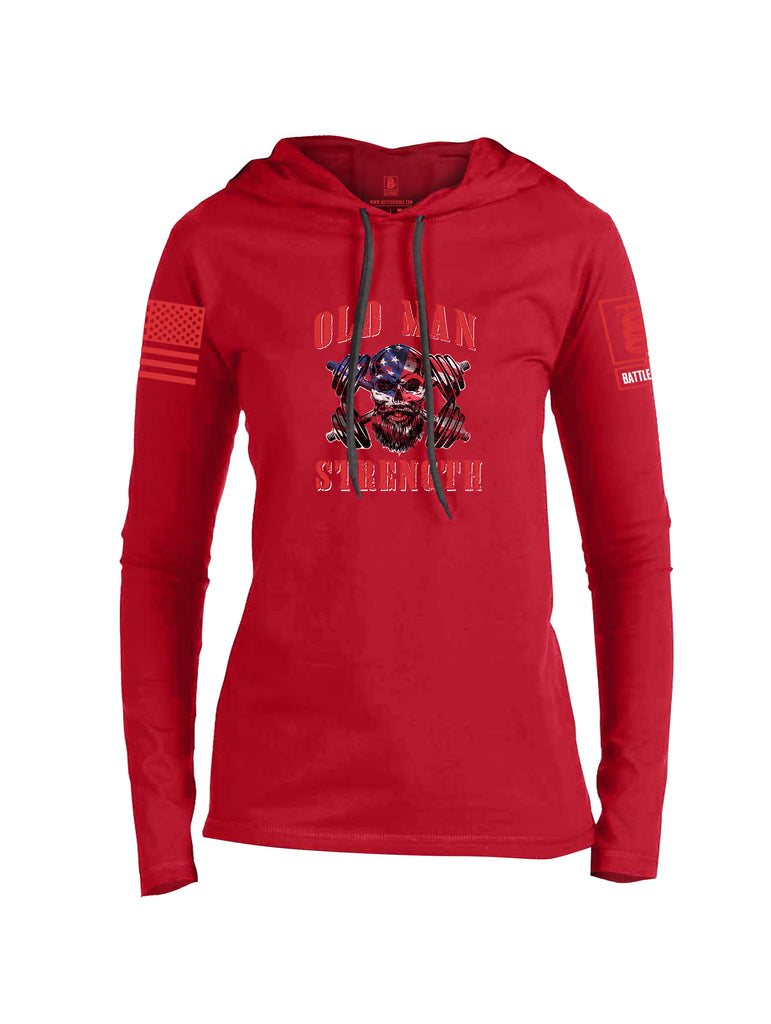 Battleraddle Old Man Strength Red Sleeve Print Womens Thin Cotton Lightweight Hoodie