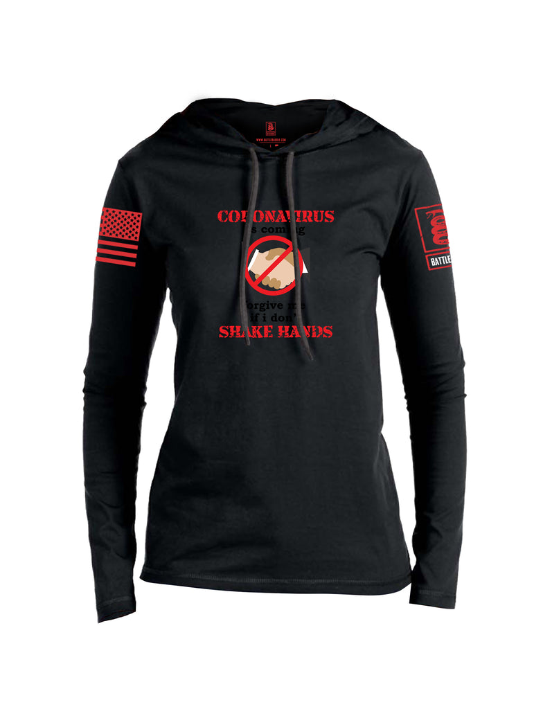 Battleraddle Corona Virus Is Coming Forgive Me If I Dont Shake Hands Red Sleeve Print Womens Thin Cotton Lightweight Hoodie