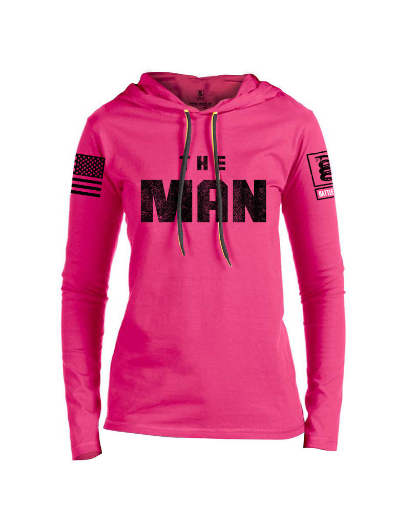 Battleraddle The Man Black Sleeve Print Womens Thin Cotton Lightweight Hoodie