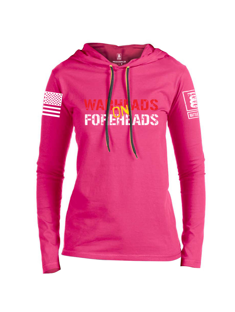 Battleraddle Warheads On Foreheads White Sleeve Print Womens Thin Cotton Lightweight Hoodie