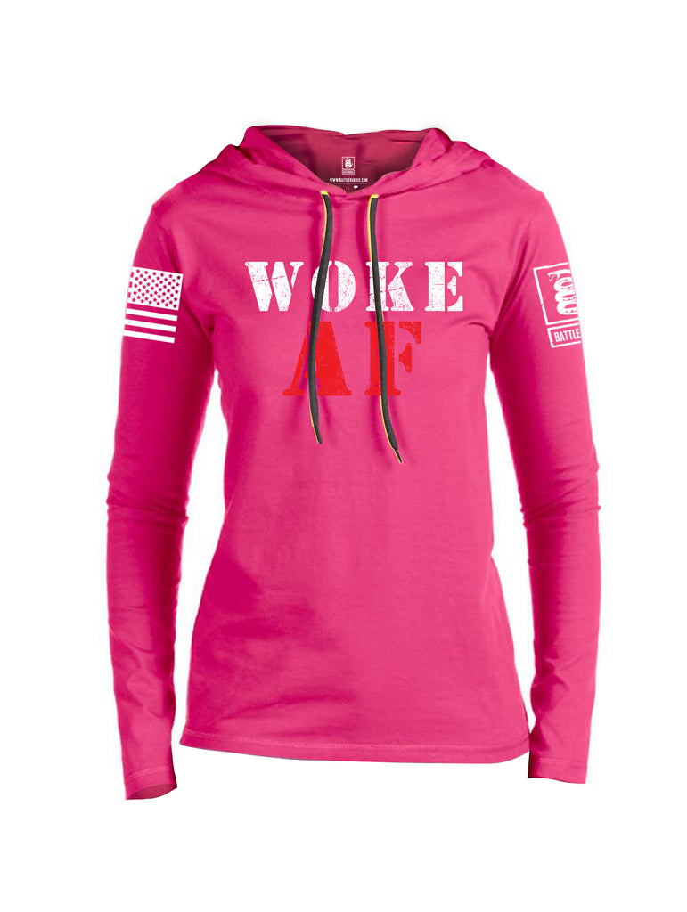 Battleraddle Woke AF White Sleeve Print Womens Thin Cotton Lightweight Hoodie