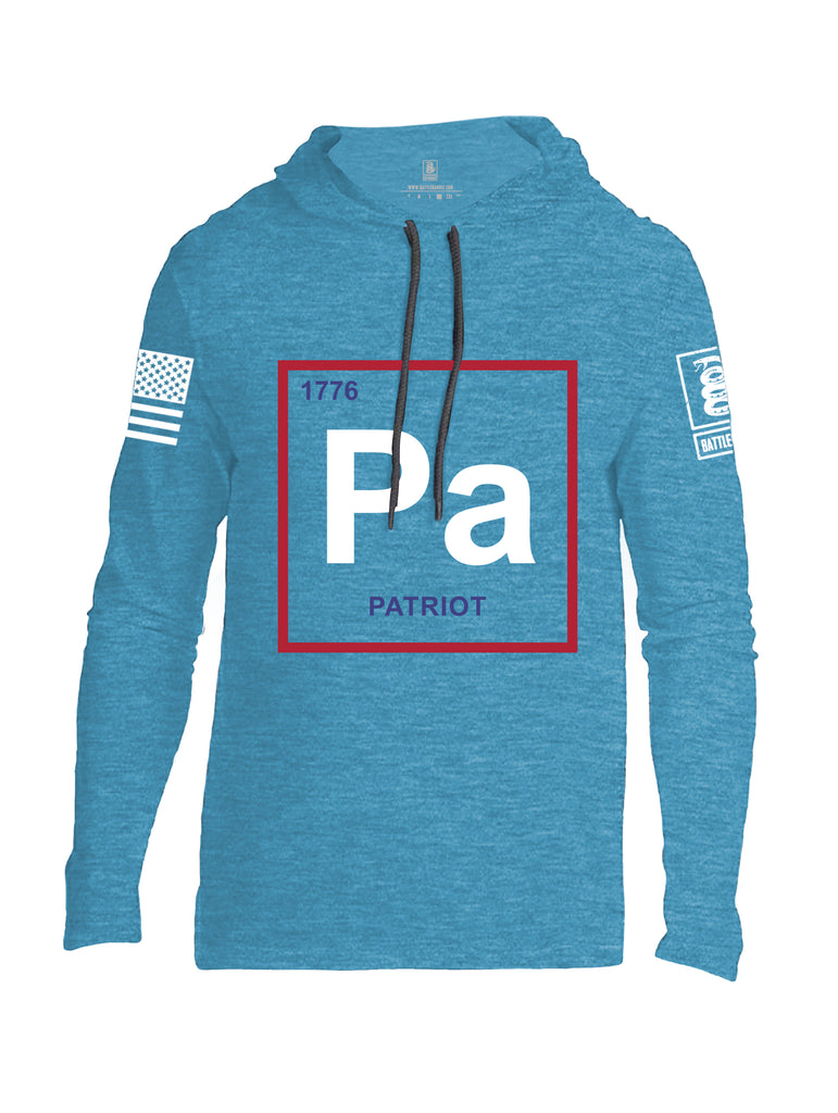 Battleraddle Periodic Table PA 1776 Patriotic White Sleeve Print Mens Thin Cotton Lightweight Hoodie