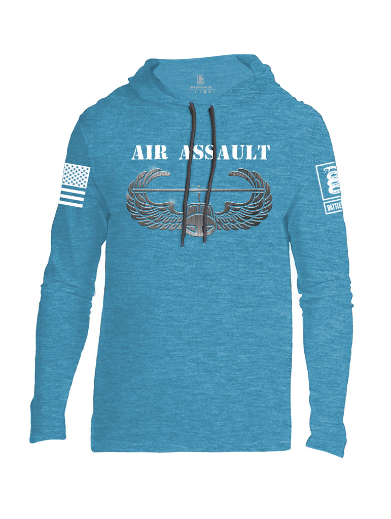 Battleraddle Air Assault White Sleeve Print Mens Thin Cotton Lightweight Hoodie