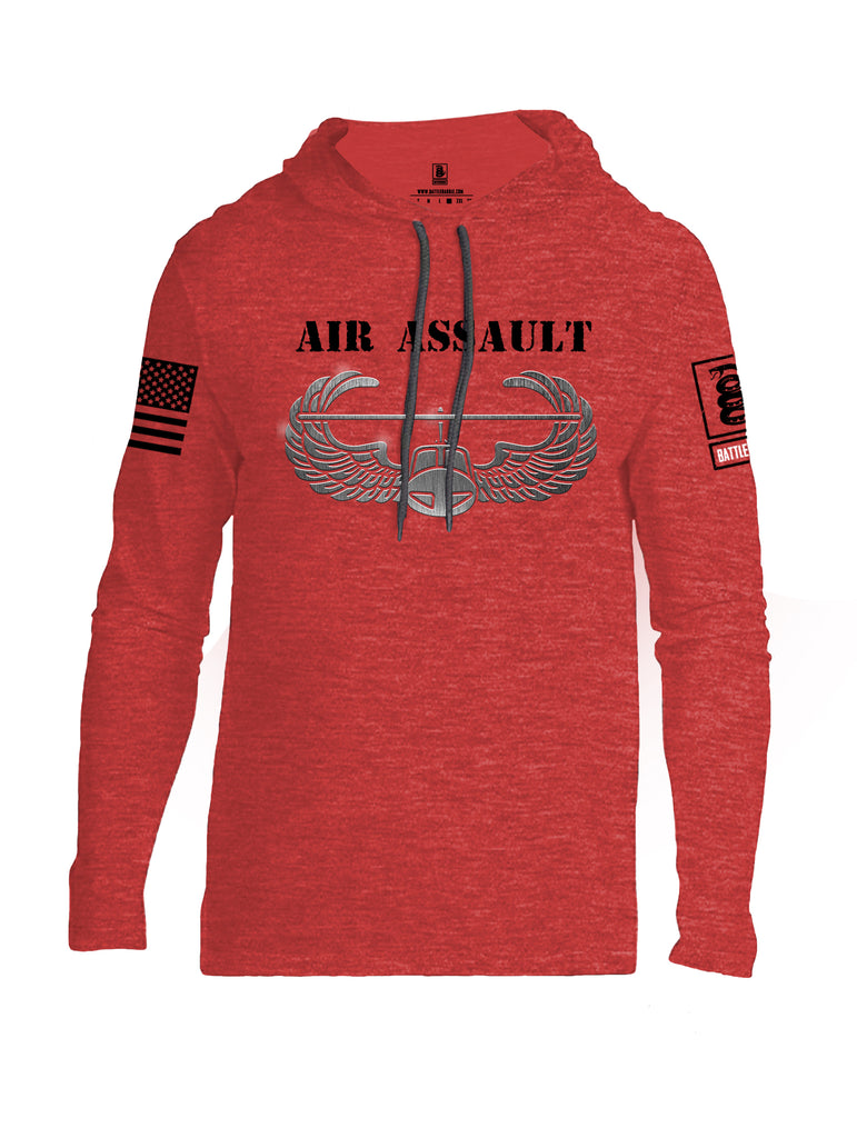 Battleraddle Air Assault Black Sleeve Print Mens Thin Cotton Lightweight Hoodie