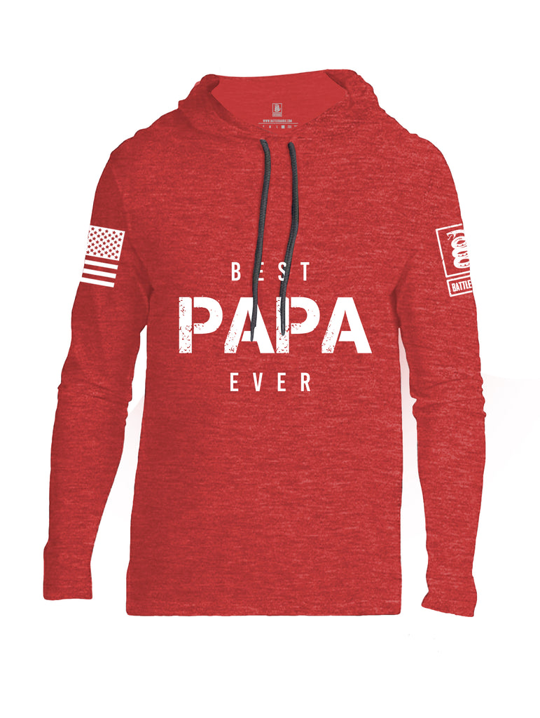 Battleraddle Best PAPA Ever White Sleeve Print Mens Thin Cotton Lightweight Hoodie