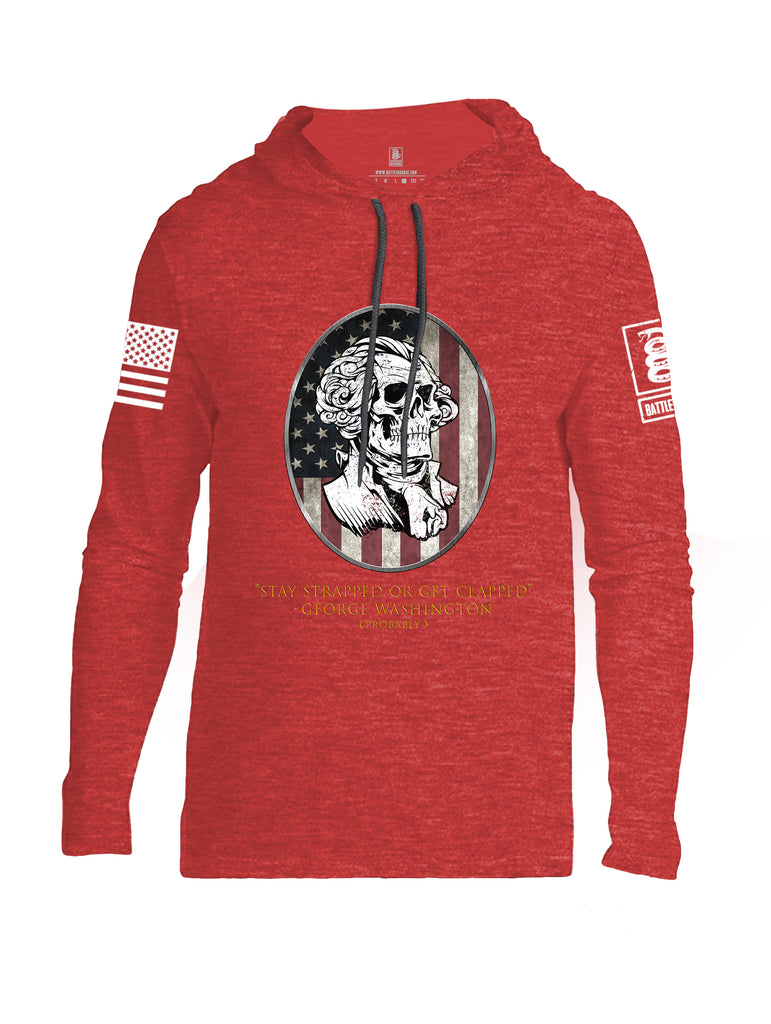Battleraddle Stay Strapped Or Get Clapped George Washington White Sleeve Print Mens Thin Cotton Lightweight Hoodie