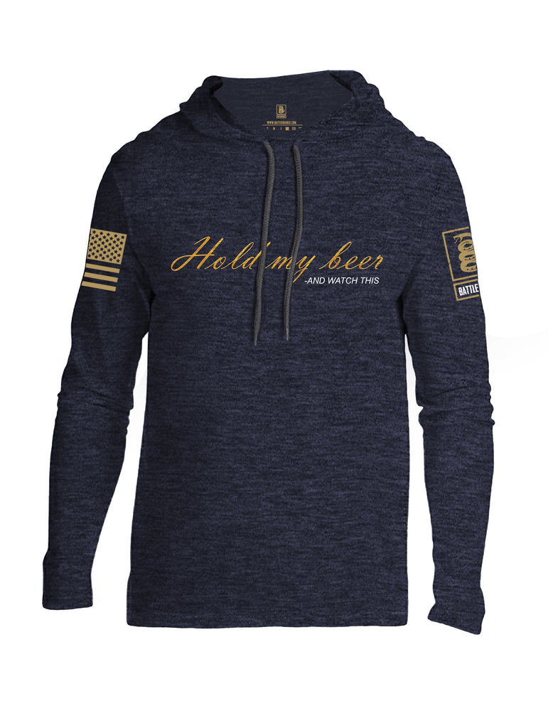Battleraddle Hold My Beer And Watch This Brass Sleeve Print Mens Thin Cotton Lightweight Hoodie