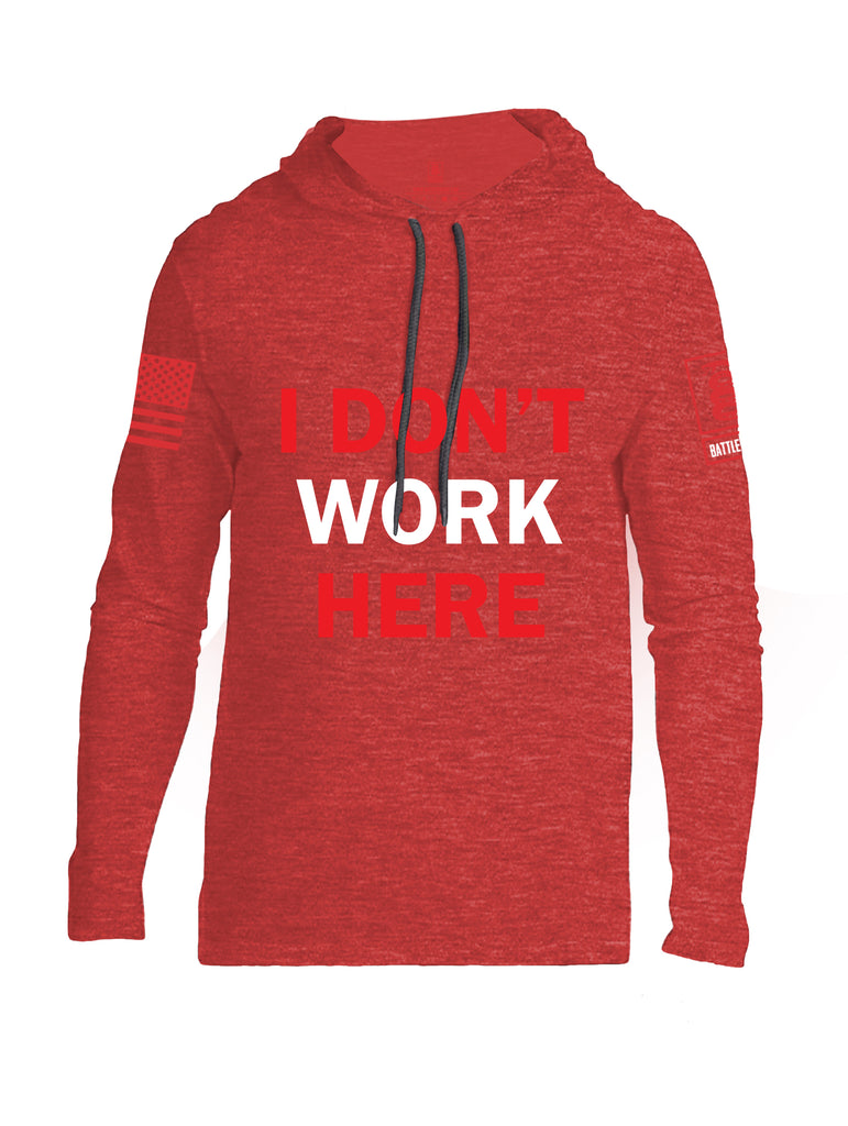 Battleraddle I Dont Work Here Red Sleeve Print Mens Thin Cotton Lightweight Hoodie