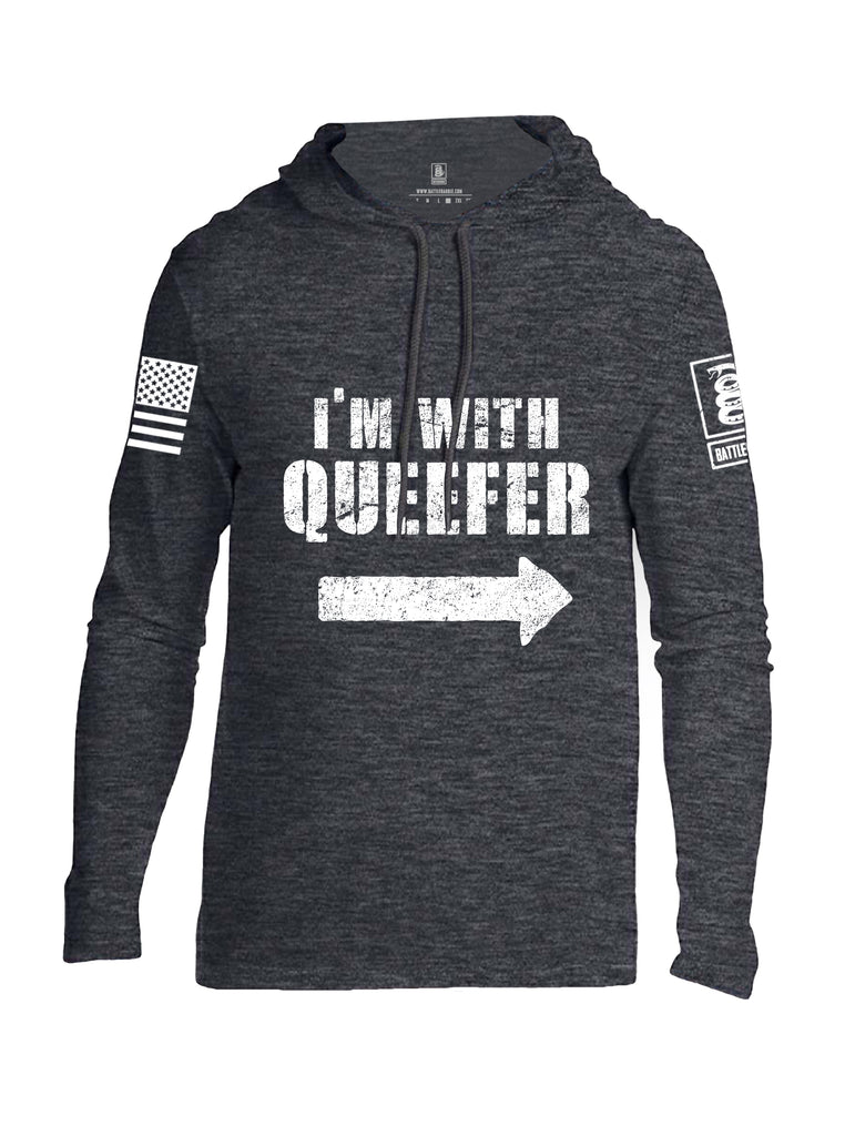 Battleraddle Im With Queefer White Sleeve Print Mens Thin Cotton Lightweight Hoodie