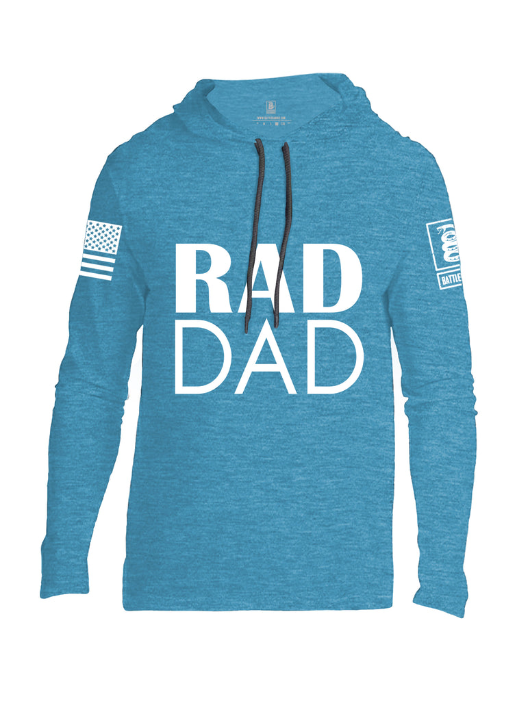 Battleraddle Rad Dad White Sleeve Print Mens Thin Cotton Lightweight Hoodie
