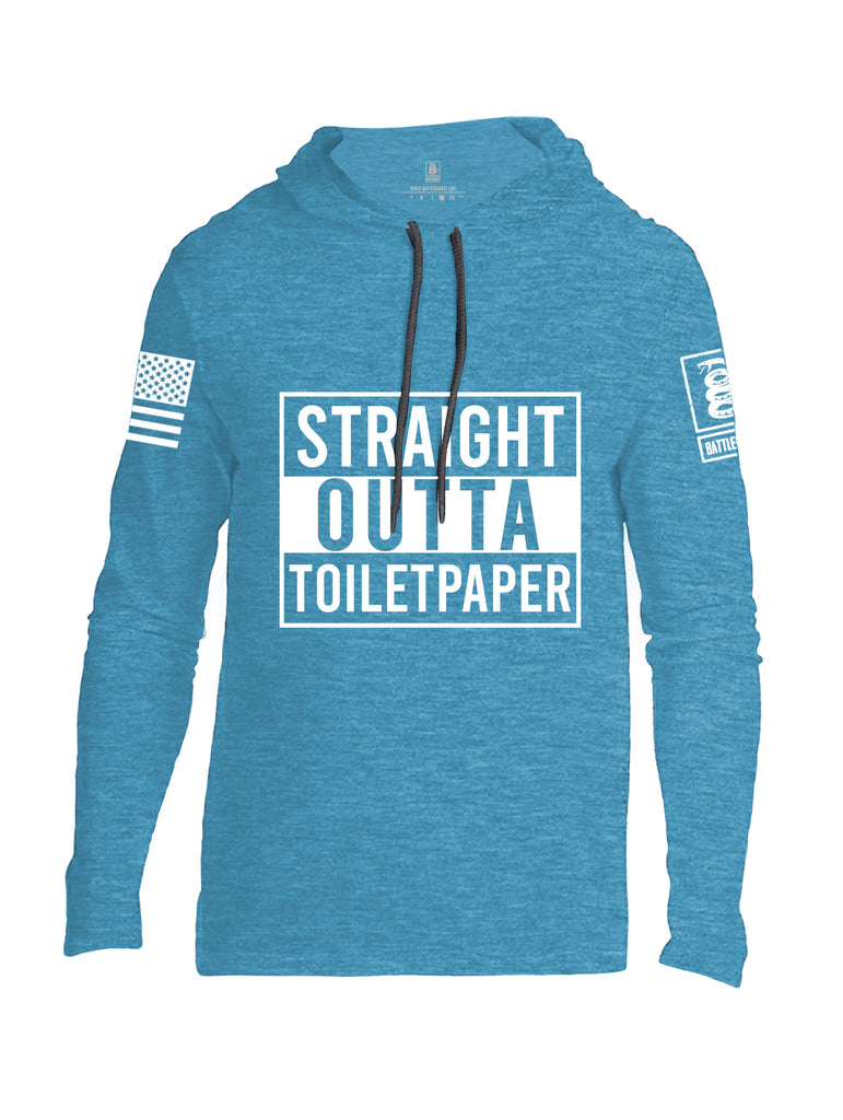 Battleraddle Straight Outta Toilet Paper White Sleeve Print Mens Thin Cotton Lightweight Hoodie