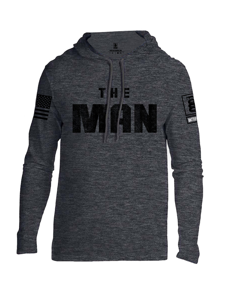 Battleraddle The Man Black Sleeve Print Mens Thin Cotton Lightweight Hoodie