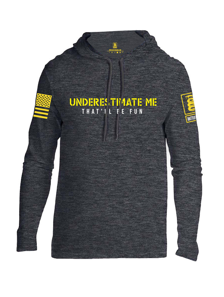 Battleraddle Underestimate Me That Will Be Fun Yellow Sleeve Print Mens Thin Cotton Lightweight Hoodie