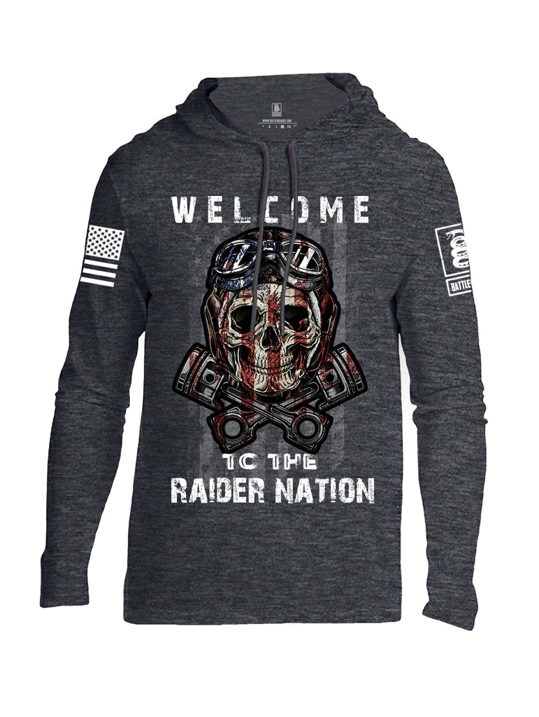 Battleraddle Welcome To The Raider Nation White Sleeve Print Mens Thin Cotton Lightweight Hoodie