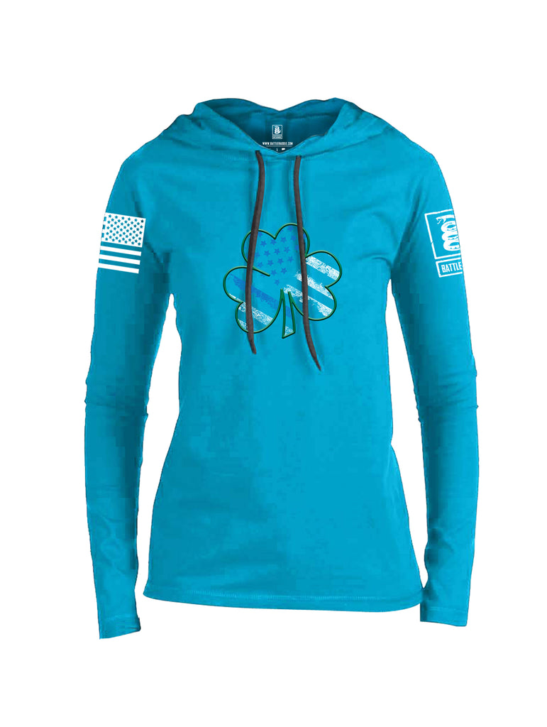 Battleraddle Blue Line Clover White Sleeve Print Womens Thin Cotton Lightweight Hoodie