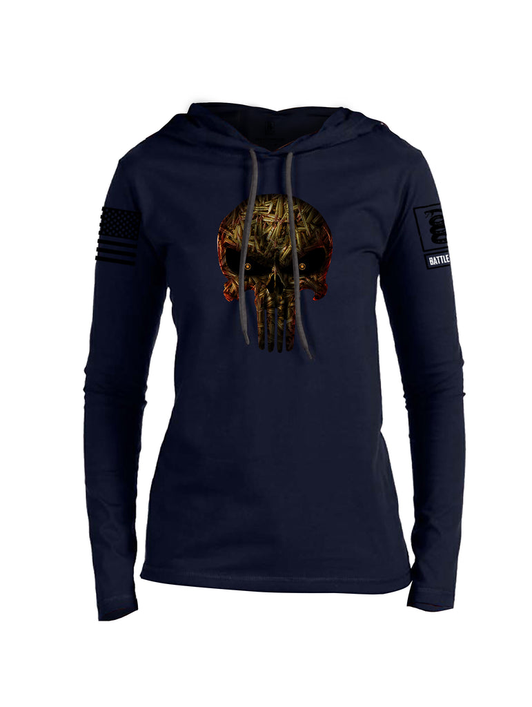 Battleraddle Expounder Bullet Rounds Black Sleeve Print Womens Thin Cotton Lightweight Hoodie
