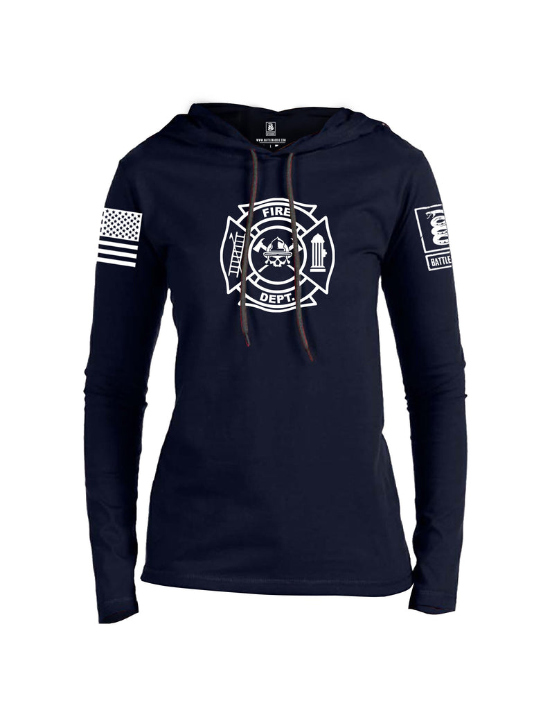 Battleraddle Fire Department White Sleeve Print Womens Thin Cotton Lightweight Hoodie
