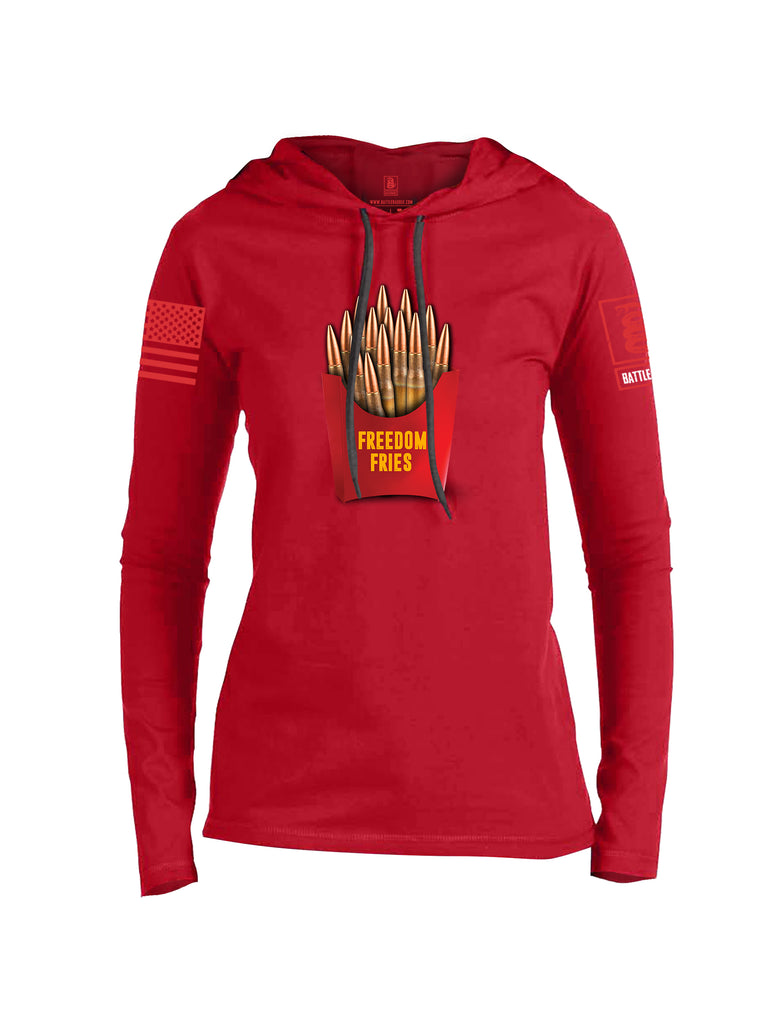 Battleraddle Freedom Fries Red Sleeve Print Womens Thin Cotton Lightweight Hoodie