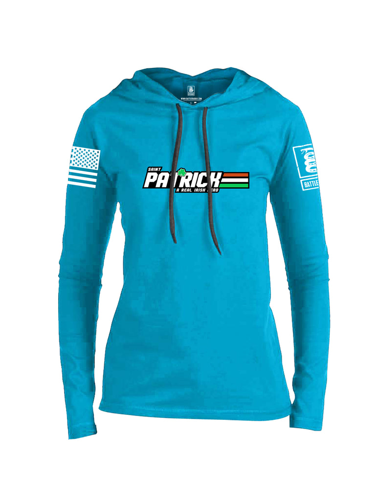 Battleraddle St Patrick GI Joe White Sleeve Print Womens Thin Cotton Lightweight Hoodie