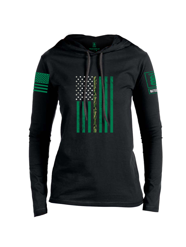 Battleraddle Patricks Camo Flag Green Sleeve Print Womens Thin Cotton Lightweight Hoodie