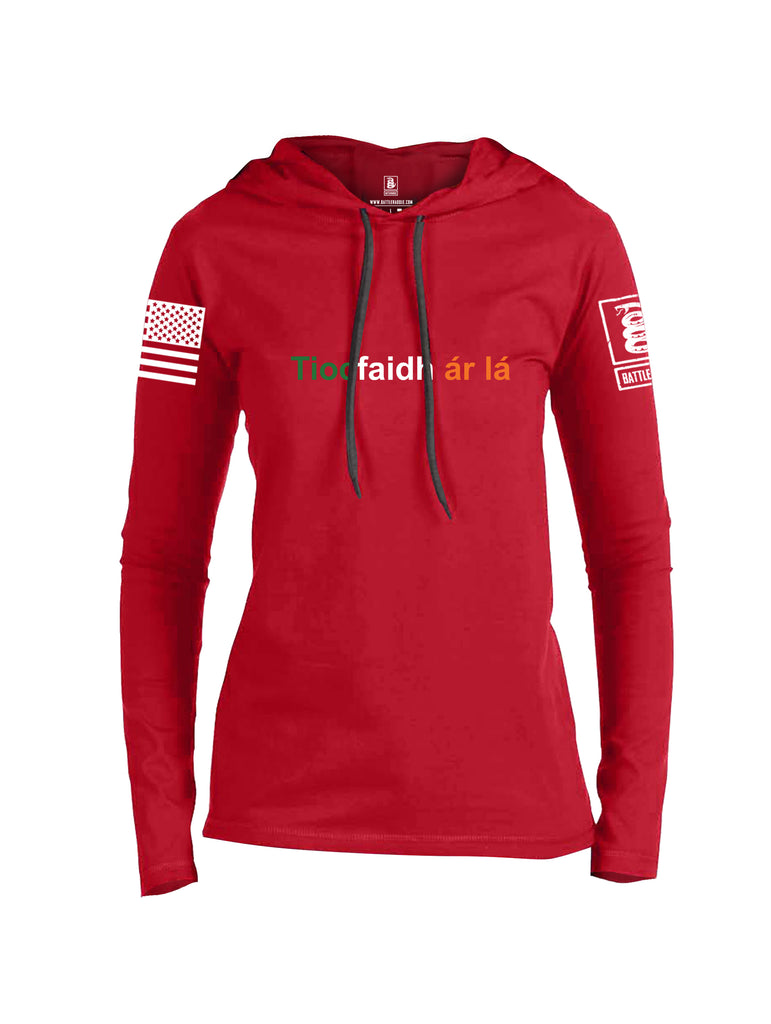 Battleraddle Tiocfaidh ar la with Irish Flag Green White Orange Letters White Sleeve Print Womens Thin Cotton Lightweight Hoodie