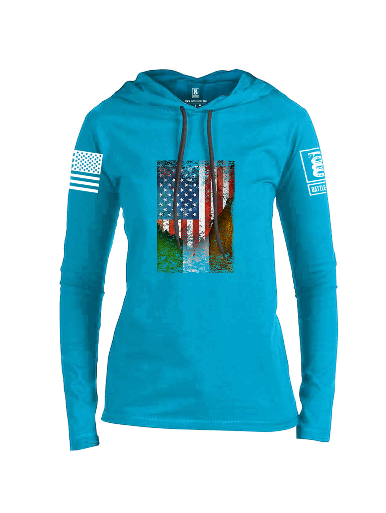 Battleraddle American Irish Flag White Sleeve Print Womens Thin Cotton Lightweight Hoodie
