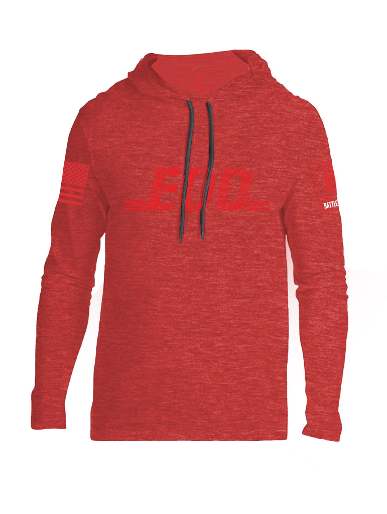 Battleraddle EOD Red Sleeve Print Mens Thin Cotton Lightweight Hoodie