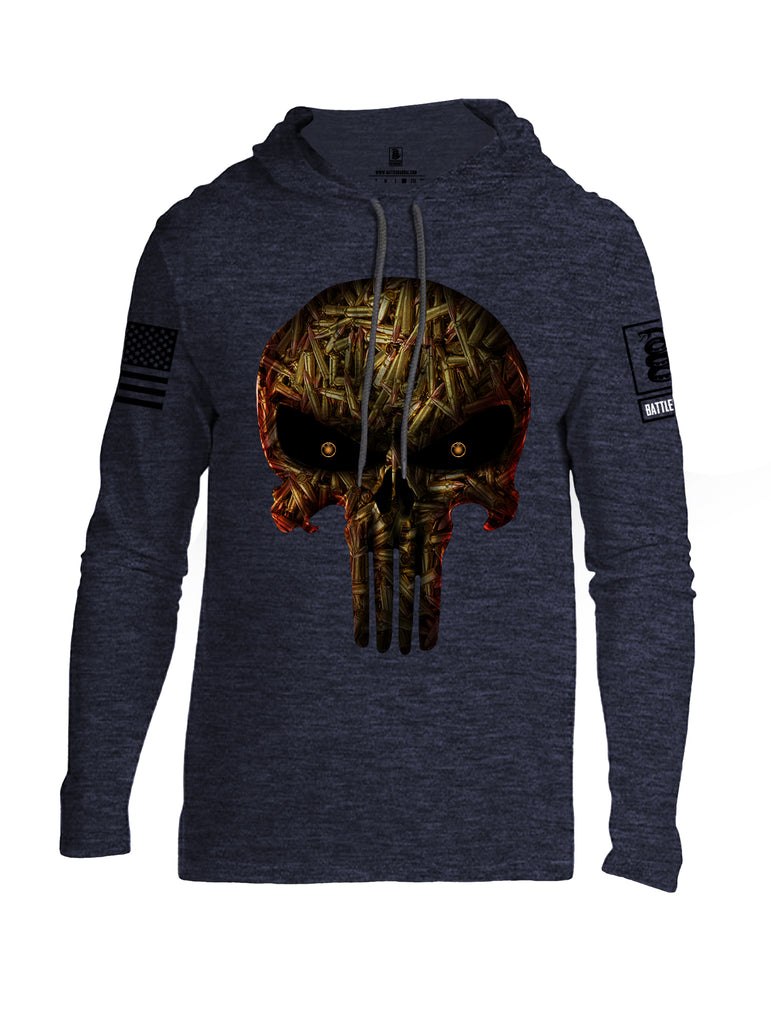 Battleraddle Expounder Bullet Rounds Black Sleeve Print Mens Thin Cotton Lightweight Hoodie