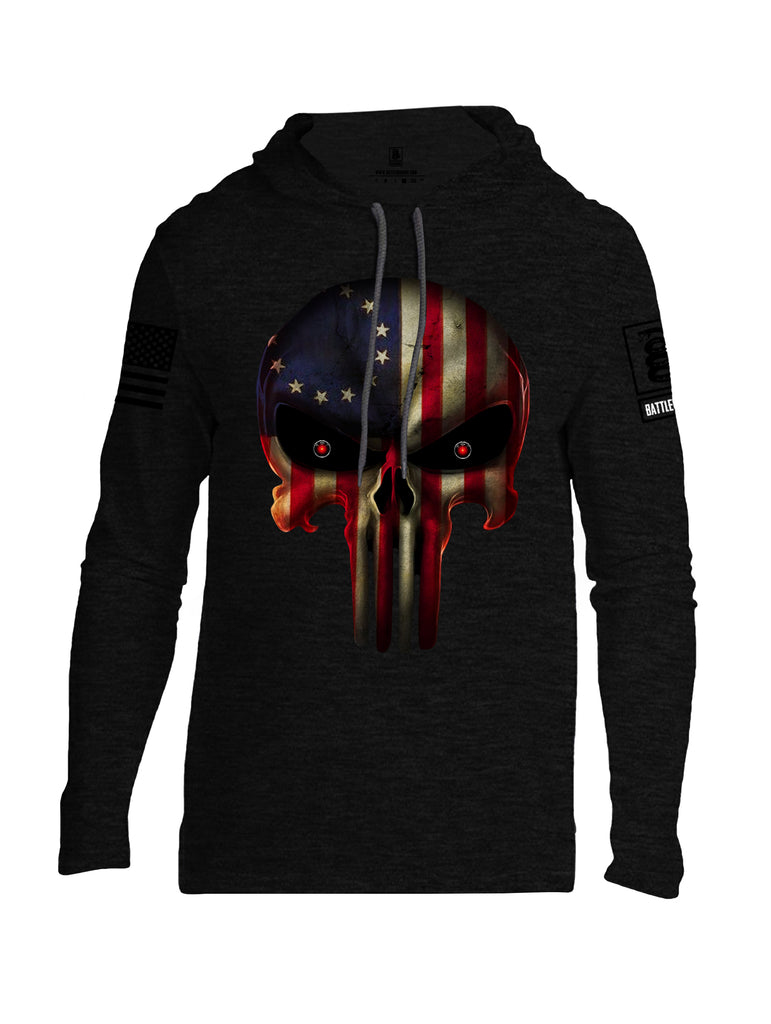 Battleraddle Expounder Colony Flag Black Sleeve Print Mens Thin Cotton Lightweight Hoodie