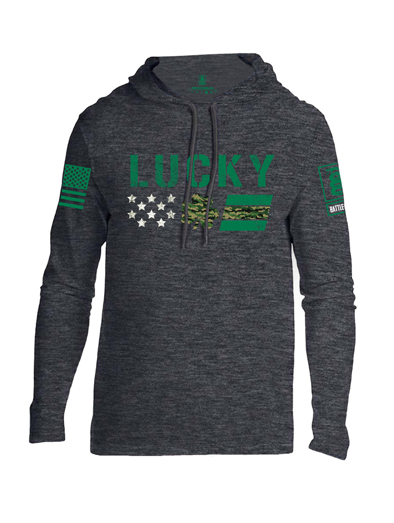 Battleraddle Lucky Leaf Green Sleeve Print Mens Thin Cotton Lightweight Hoodie