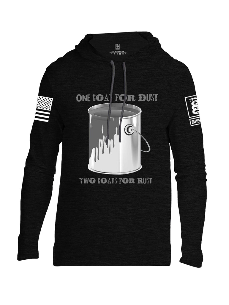 Battleraddle One Coat For Dust Two Coats For Rust White Sleeve Print Mens Thin Cotton Lightweight Hoodie