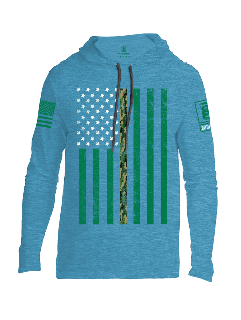 Battleraddle Patricks Camo Flag Green Sleeve Print Mens Thin Cotton Lightweight Hoodie