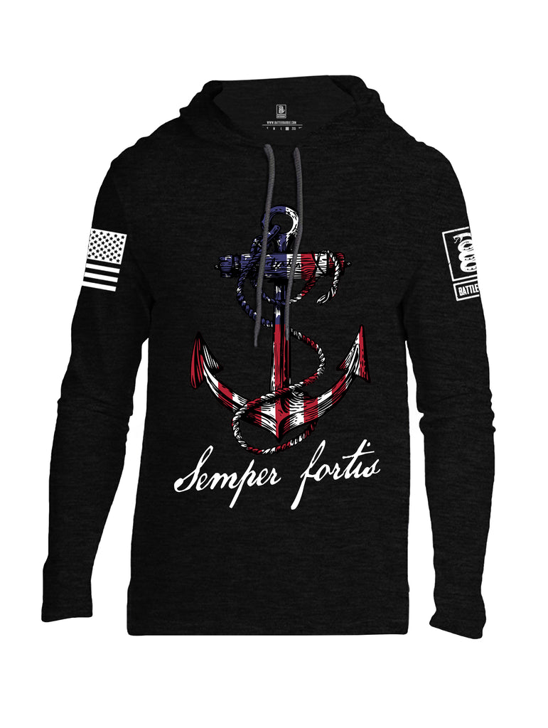 Battleraddle Semper Fortis White Sleeve Print Mens Thin Cotton Lightweight Hoodie