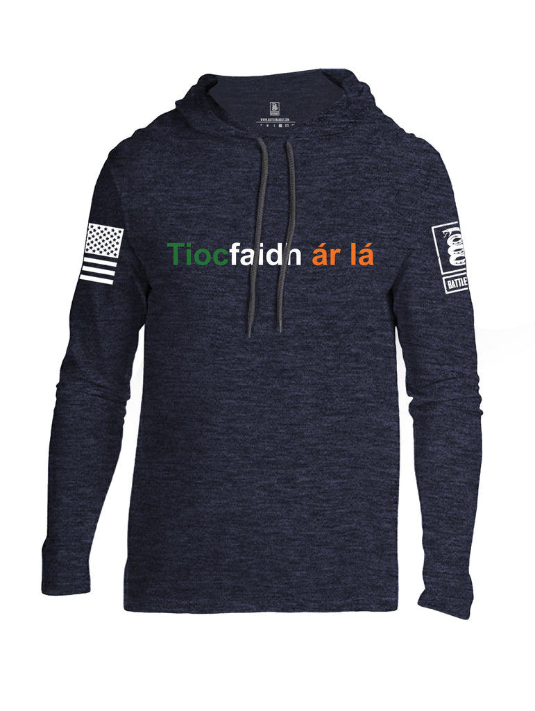 Battleraddle Tiocfaidh ar la with Irish Flag Green White Orange Letters White Sleeve Print Mens Thin Cotton Lightweight Hoodie