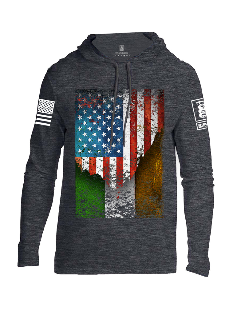 Battleraddle American Irish Flag White Sleeve Print Mens Thin Cotton Lightweight Hoodie