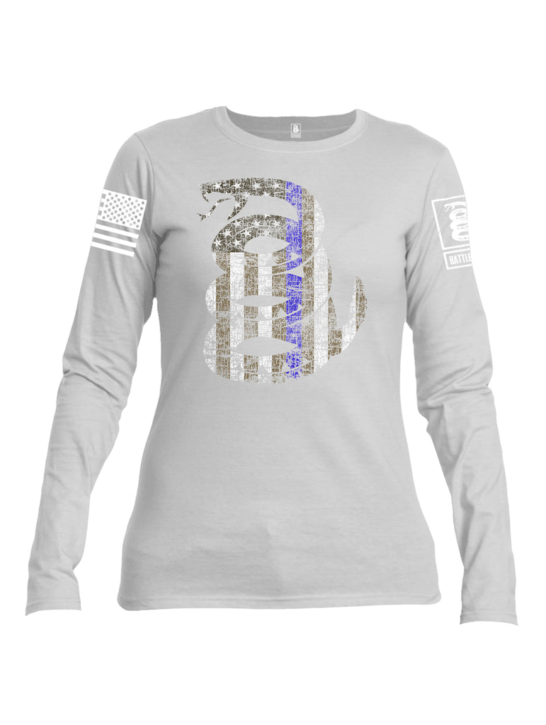 Battleraddle Official Snake American Flag Blue Line White Sleeve Print Womens Cotton Long Sleeve Crew Neck T Shirt