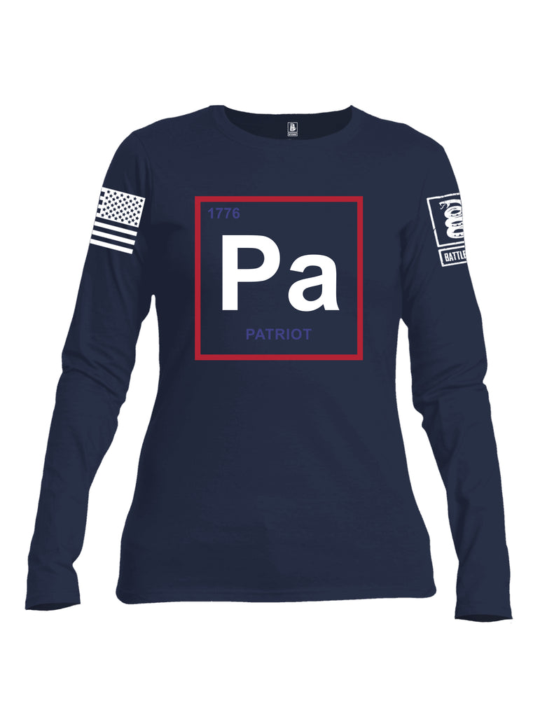 Battleraddle Periodic Table PA 1776 Patriotic White Sleeve Print Womens Cotton Long Sleeve Crew Neck T Shirt