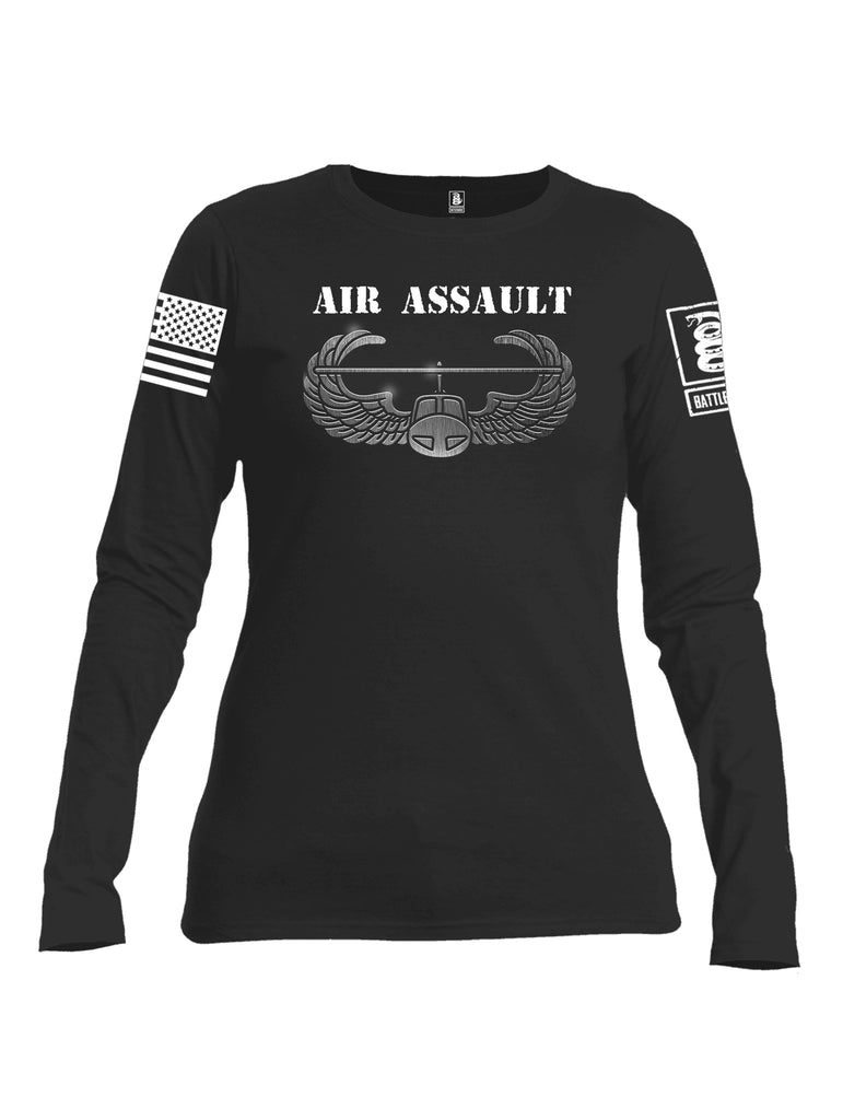 Battleraddle Air Assault White Sleeve Print Womens Cotton Long Sleeve Crew Neck T Shirt