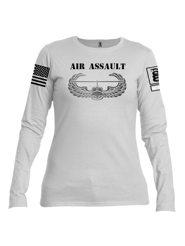Battleraddle Air Assault Black Sleeve Print Womens Cotton Long Sleeve Crew Neck T Shirt