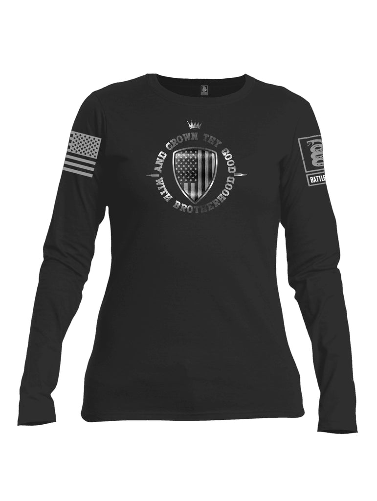 Battleraddle And Crown Thy Good With Brotherhood Grey Sleeve Print Womens Cotton Long Sleeve Crew Neck T Shirt