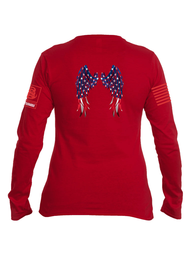 Battleraddle USA Flag Wings Red Sleeve Print Womens Cotton Long Sleeve Crew Neck T Shirt