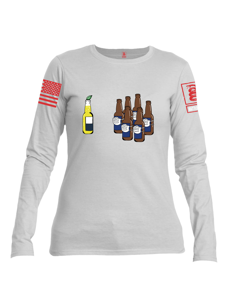 Battleraddle Corona Vs Beer Red Sleeve Print Womens Cotton Long Sleeve Crew Neck T Shirt