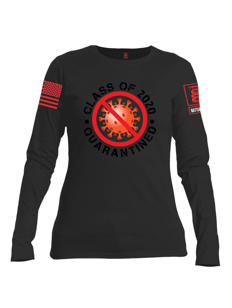 Battleraddle Class Of 2020 Quarantined Red Sleeve Print Womens Cotton Long Sleeve Crew Neck T Shirt