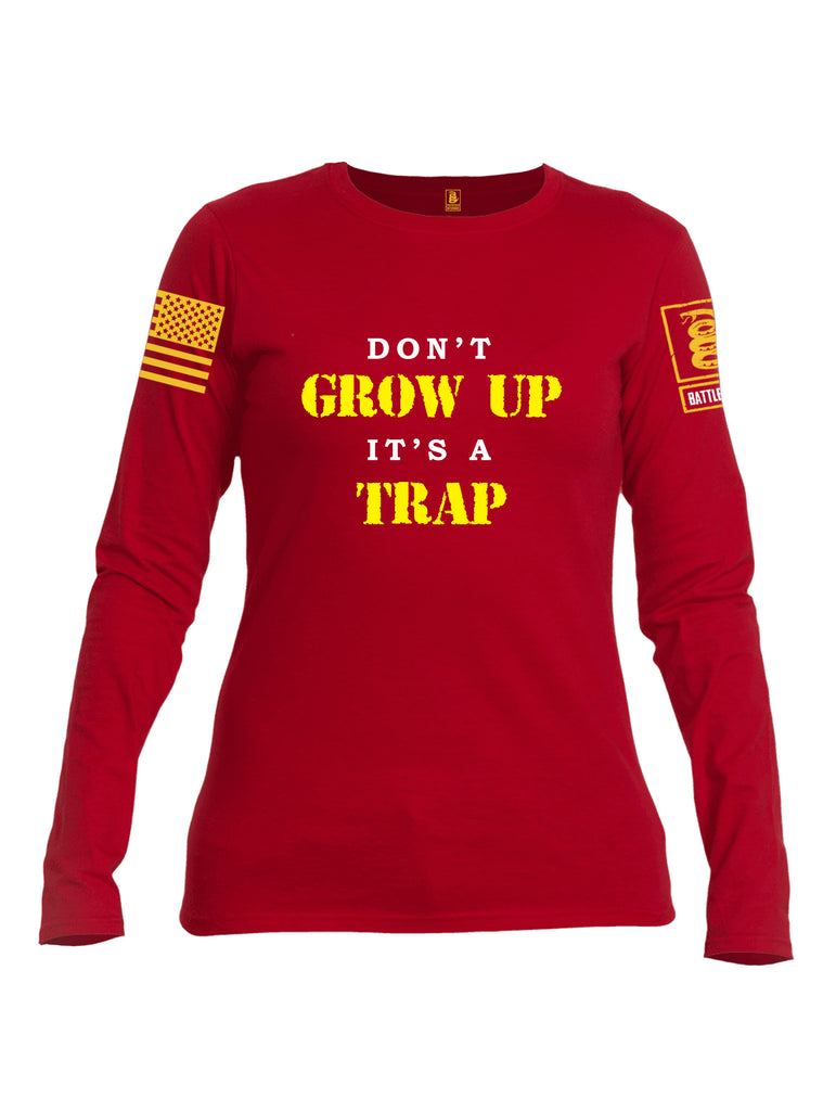Battleraddle Dont Grow Up Its A Trap Yellow Sleeve Print Womens Cotton Long Sleeve Crew Neck T Shirt
