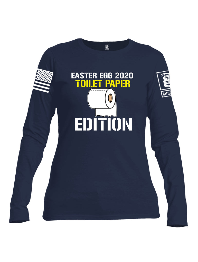 Battleraddle Easter Egg 2020 Toilet Paper Edition White Sleeve Print Womens Cotton Long Sleeve Crew Neck T Shirt