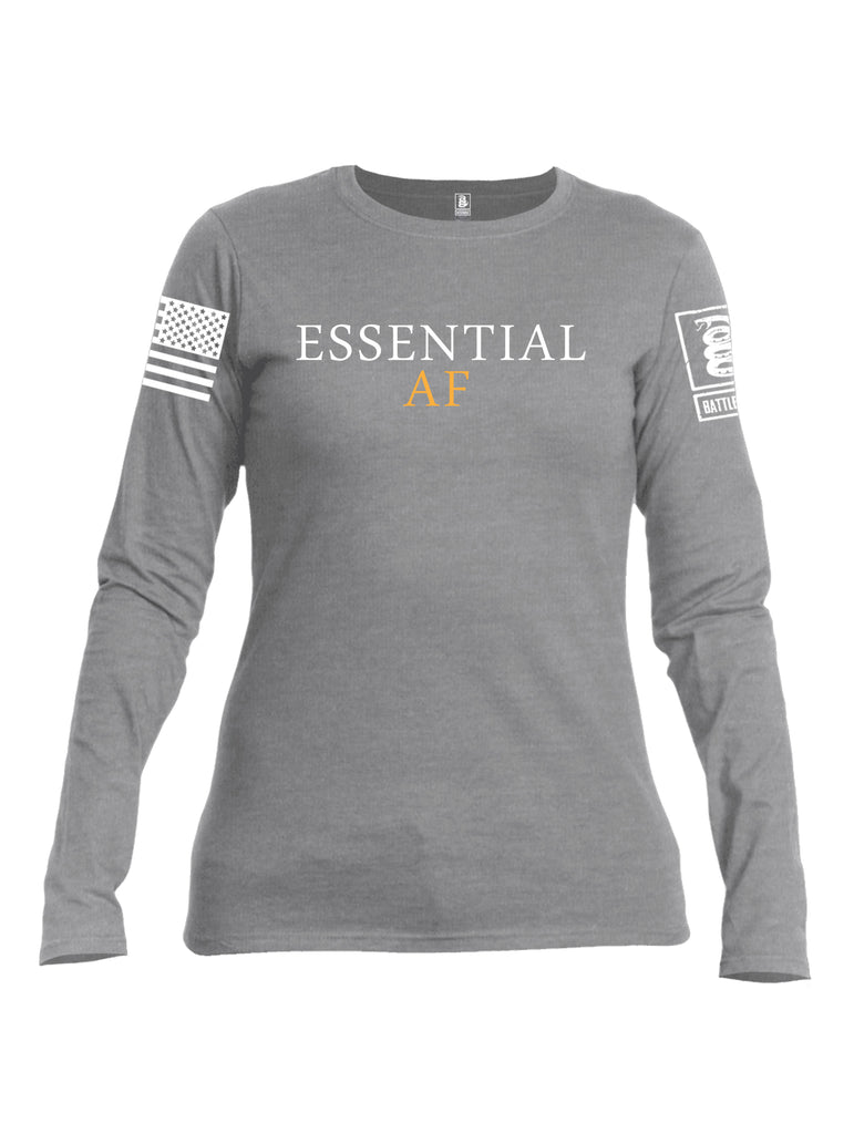 Battleraddle Essential AF White Sleeve Print Womens Cotton Long Sleeve Crew Neck T Shirt