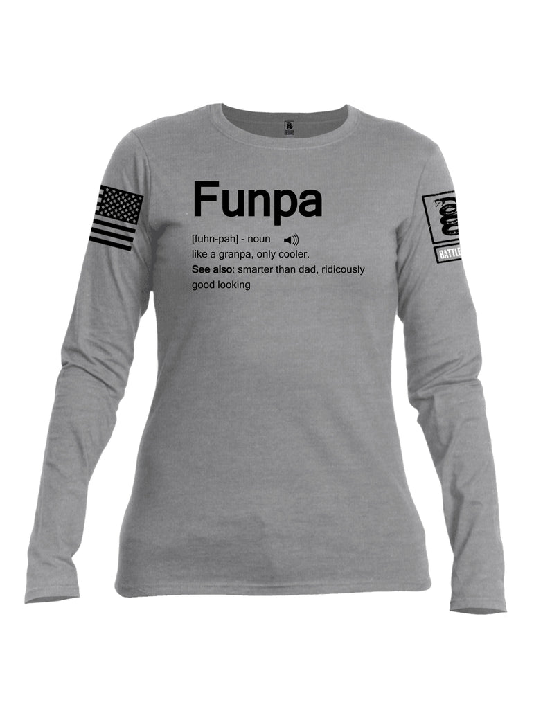 Battleraddle Funpa Black Sleeve Print Womens Cotton Long Sleeve Crew Neck T Shirt